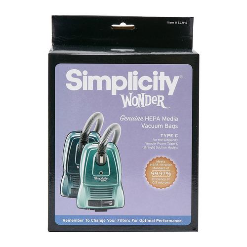 Simplicity Wonder HEPA Media Type C Vacuum Bags (pack of 6) SCH-6