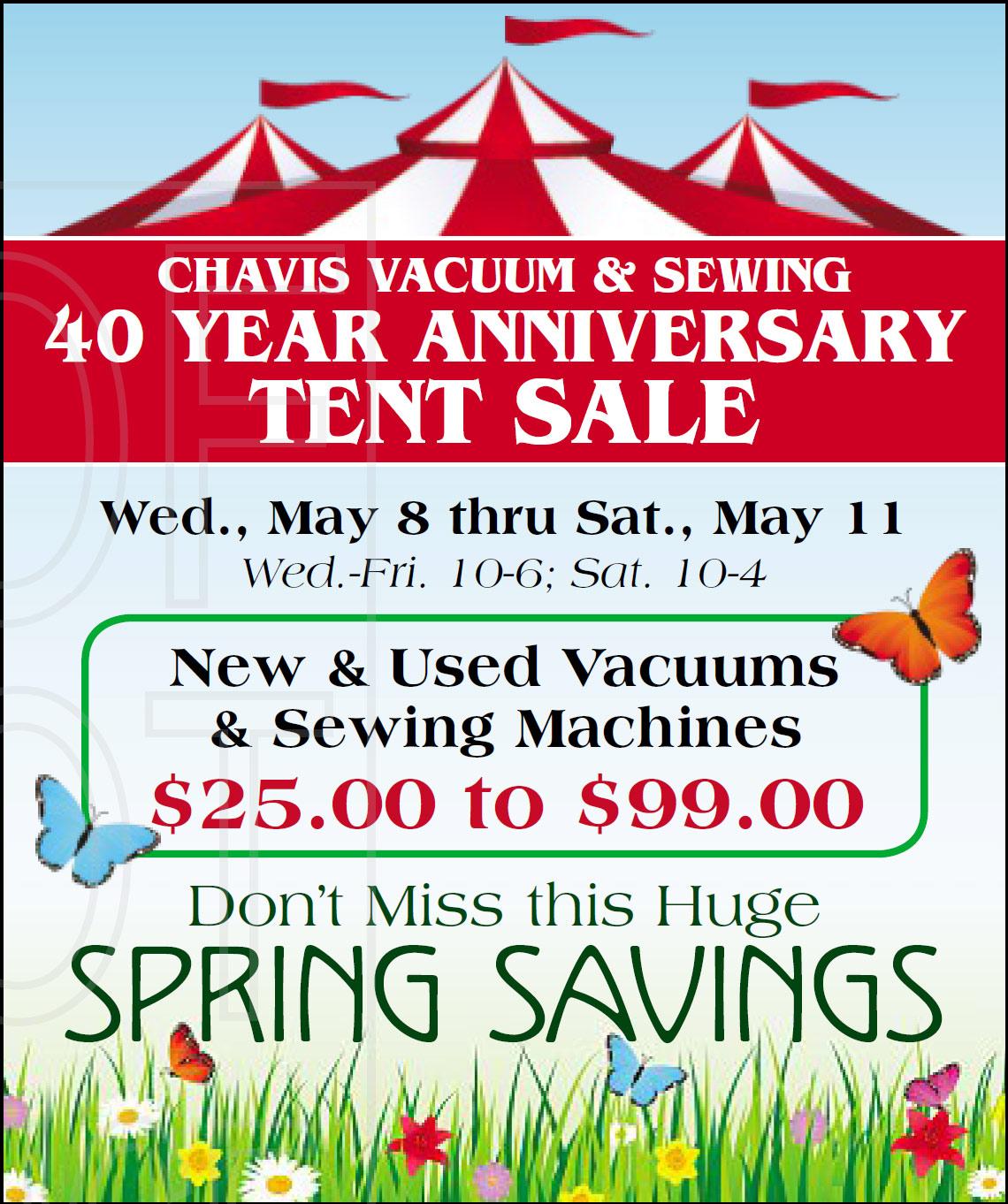 Tent Sale, Chavis Vacuum & Sewing, Burnsville, MN