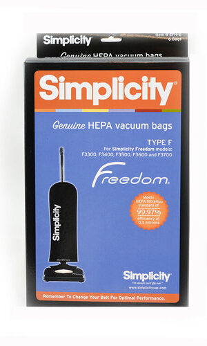 Simplicity HEPA HiFlow Filtration Genuine F Bags (pack of 6) SFH6